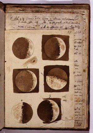 Galileo's  drawings of Moon.